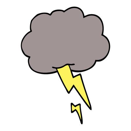 caricatura, garabato, nube de tormenta, con, relámpago