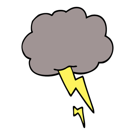 cartoon doodle storm cloud with lightning