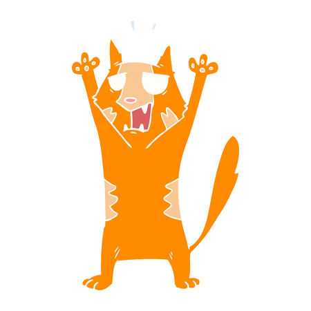 flat color style cartoon panicking cat