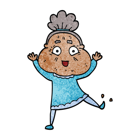 cartoon doodle dancing old lady Illustration