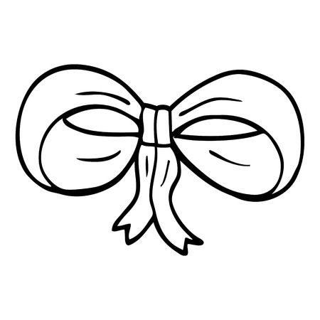 line drawing cartoon tied bow Illustration