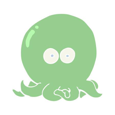 flat color style cartoon octopus