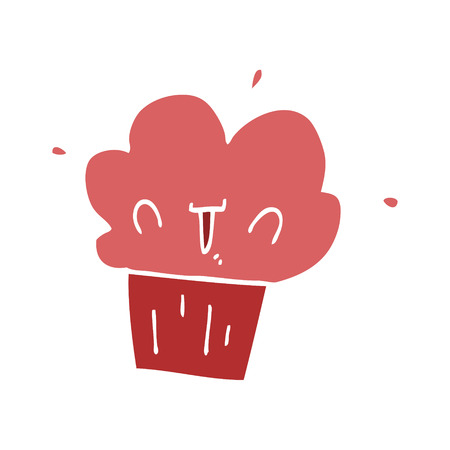 flat color style cartoon cupcake