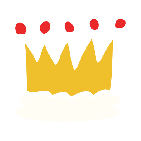cartoon doodle gold crown Illustration