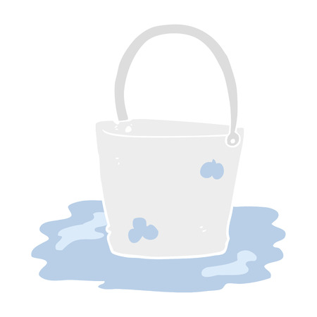 flat color illustration of water bucket