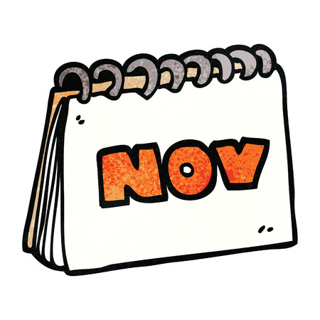 cartoon doodle calendar showing month of november