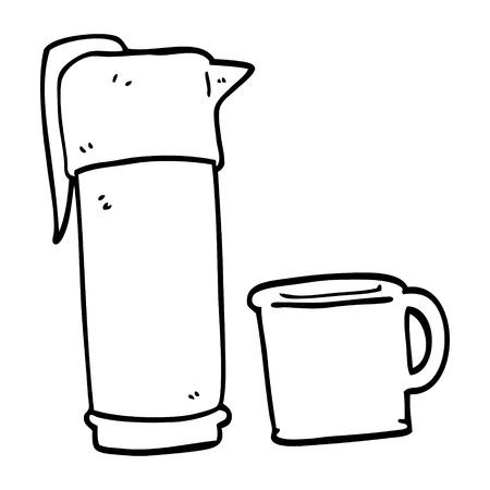 line drawing cartoon coffee vacuum flask