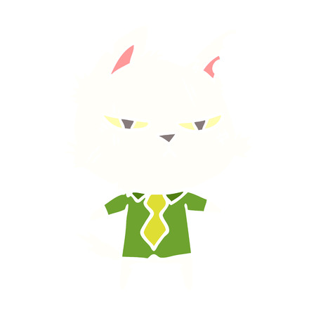 tough flat color style cartoon cat in shirt and tie