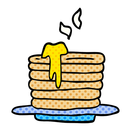 cartoon doodle stack of pancakes Ilustracja