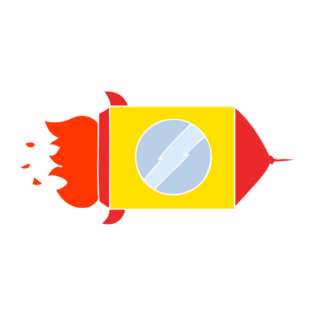 flat color style cartoon space rocket
