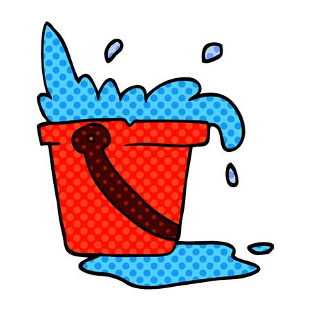 balde y agua de doodle de dibujos animados