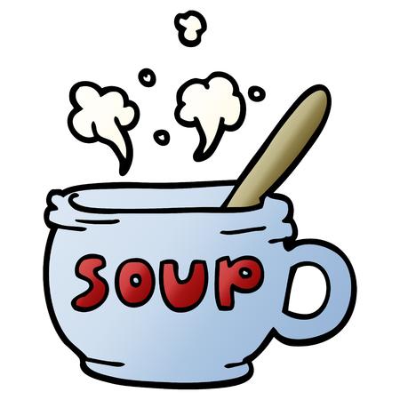 caricatura, garabato, de, sopa caliente