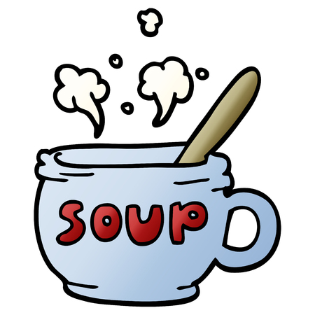 cartoon doodle of hot soup