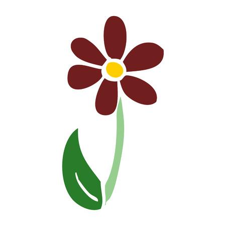 cartoon doodle single flower