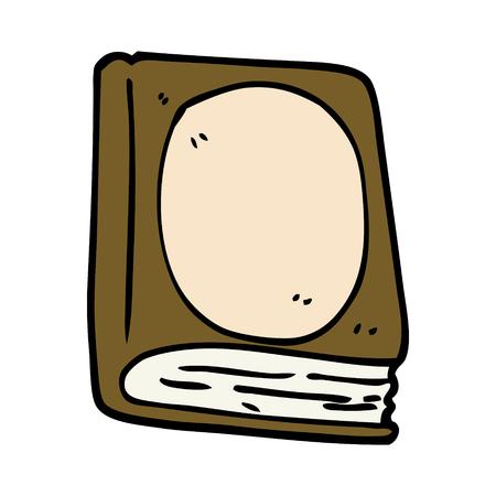 cartoon doodle old leather book Çizim