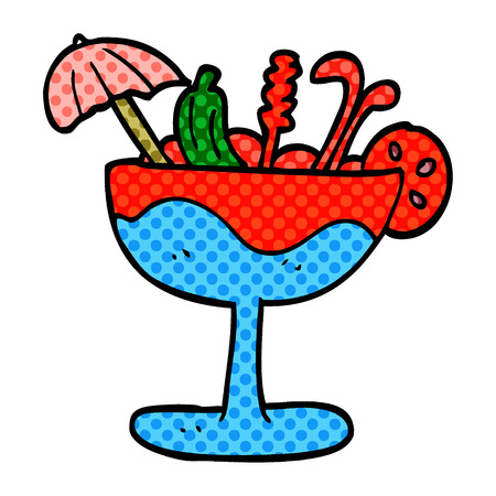 cartoon doodle tropical cocktail