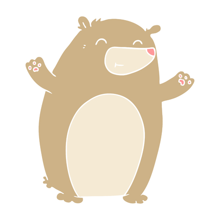 happy flat color style cartoon bear
