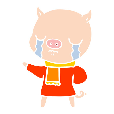 flat color style cartoon crying pig wearing scarf Stock Illustratie