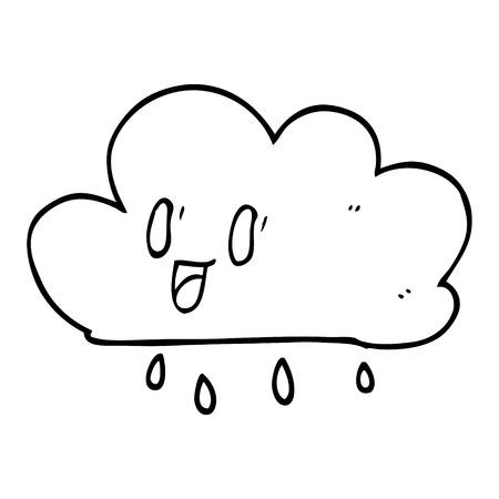 line drawing cartoon happy grey cloud