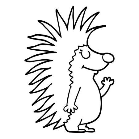 Strichzeichnung Cartoon stacheliger Igel