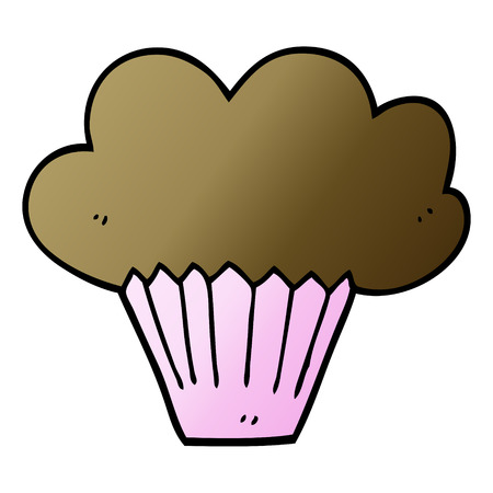 cartoon doodle cupcake Illustration