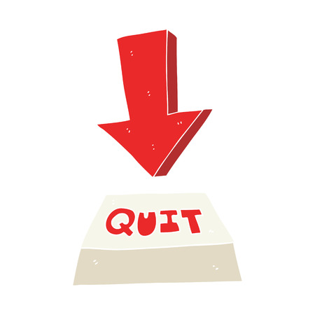 flat color illustration of quit button