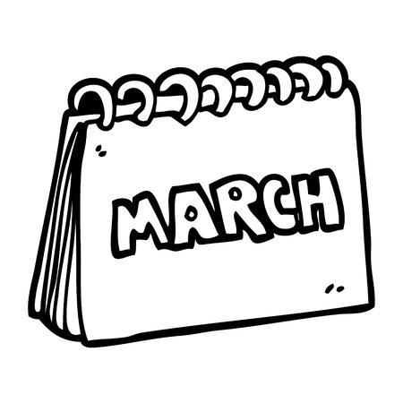 Strichzeichnung Cartoon Kalender mit Monat März Vektorgrafik