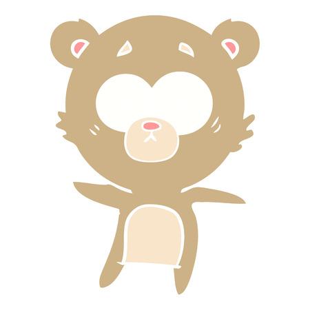 anxious bear flat color style cartoon