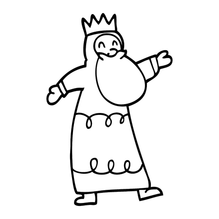 line drawing cartoon wise king