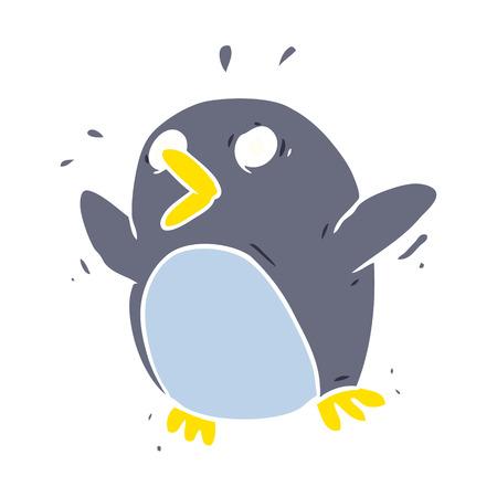 flat color style cartoon frightened penguin Illustration