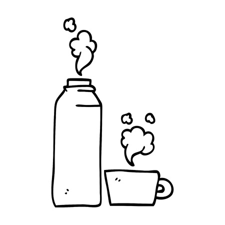 line drawing cartoon hot drinks flask