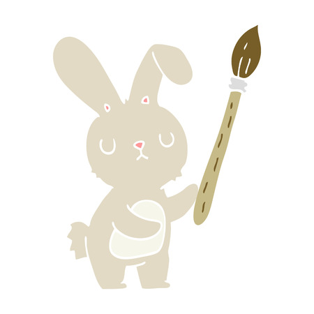 flat color style cartoon rabbit with paint brush
