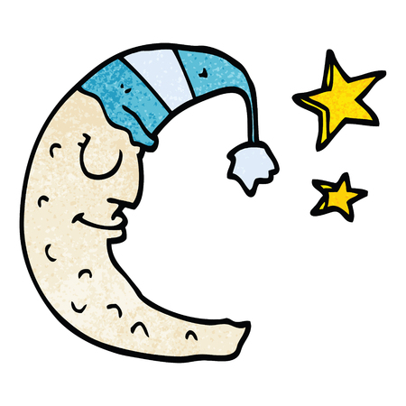 cartoon doodle moon with sleeping cap