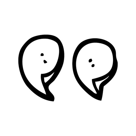 line drawing cartoon quotation marks