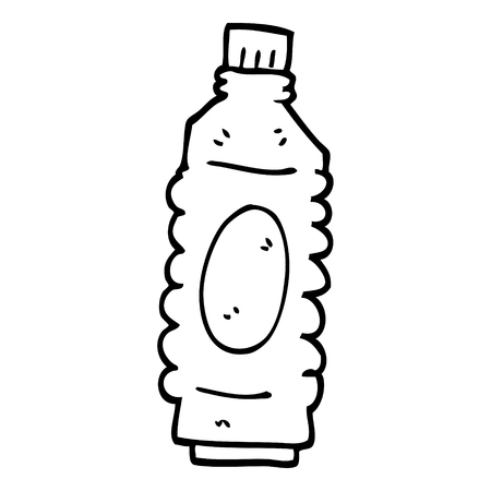 line drawing cartoon water bottle