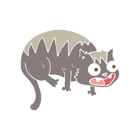 flat color illustration of cat