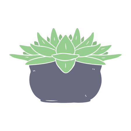flat color style cartoon succulent plant 向量圖像