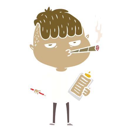 flat color style cartoon salesman smoking