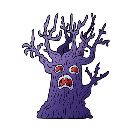 cartoon doodle spooky tree