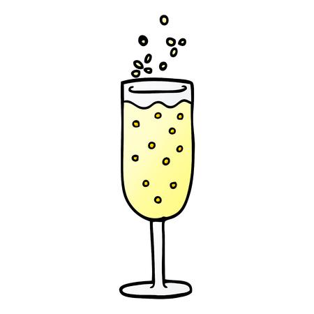 cartoon doodle champagne flute Illustration