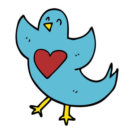 cartoon doodle bird with heart