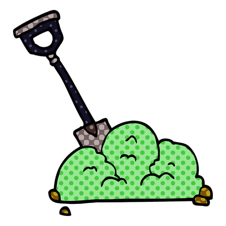 cartoon doodle spade in garbage  イラスト・ベクター素材