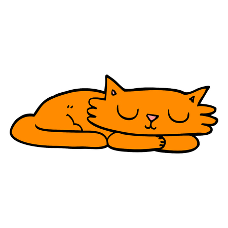 cartoon doodle sleeping cat