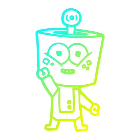 cold gradient line drawing of a happy cartoon robot waving hello Illustration