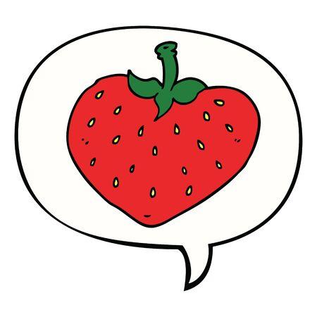 cartoon strawberry with speech bubble