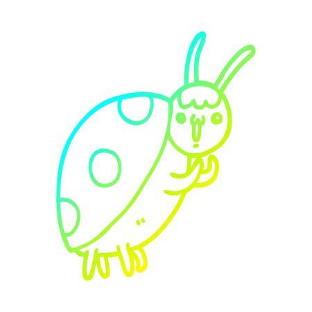 cold gradient line drawing of a cute cartoon ladybug Foto de archivo - 128114837
