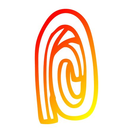 warm gradient line drawing of a cartoon paper clip