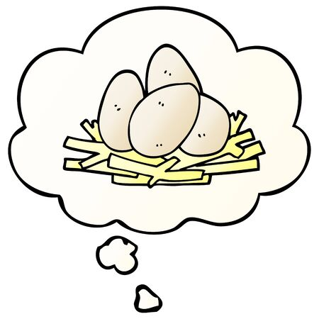 cartoon eggs in nest with thought bubble in smooth gradient style Ilustração