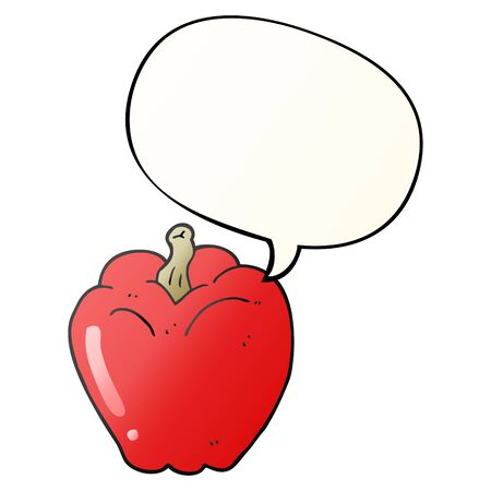 cartoon pepper with speech bubble in smooth gradient style