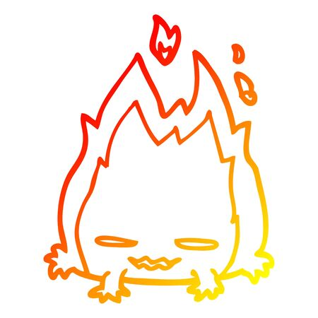 warm gradient line drawing of a cartoon fire demon Illustration